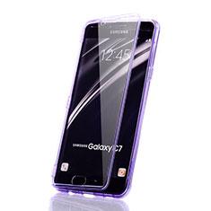 Coque Transparente Integrale Silicone Souple Avant et Arriere Etui pour Samsung Galaxy C7 SM-C7000 Violet