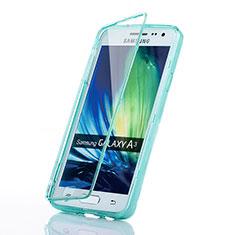 Coque Transparente Integrale Silicone Souple Avant et Arriere pour Samsung Galaxy A3 SM-300F Bleu