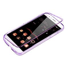 Coque Transparente Integrale Silicone Souple Portefeuille pour Huawei G8 Violet