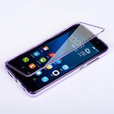Coque Transparente Integrale Silicone Souple Portefeuille pour Huawei Honor 4X Violet