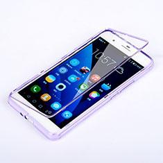Coque Transparente Integrale Silicone Souple Portefeuille pour Huawei Honor 6 Plus Violet