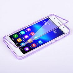 Coque Transparente Integrale Silicone Souple Portefeuille pour Huawei Honor 6 Violet