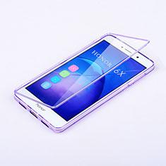 Coque Transparente Integrale Silicone Souple Portefeuille pour Huawei Honor 6X Violet