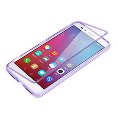 Coque Transparente Integrale Silicone Souple Portefeuille pour Huawei Honor Play 5X Violet