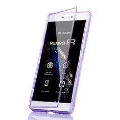 Coque Transparente Integrale Silicone Souple Portefeuille pour Huawei P8 Violet
