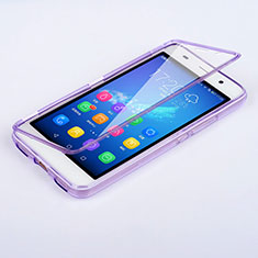 Coque Transparente Integrale Silicone Souple Portefeuille pour Huawei Y6 Violet