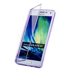 Coque Transparente Integrale Silicone Souple Portefeuille pour Samsung Galaxy A5 SM-500F Violet