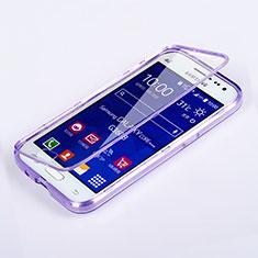 Coque Transparente Integrale Silicone Souple Portefeuille pour Samsung Galaxy Core Prime G360F G360GY Violet