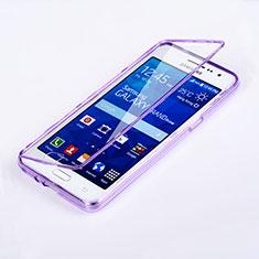 Coque Transparente Integrale Silicone Souple Portefeuille pour Samsung Galaxy Grand Prime 4G G531F Duos TV Violet