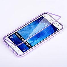 Coque Transparente Integrale Silicone Souple Portefeuille pour Samsung Galaxy J5 SM-J500F Violet