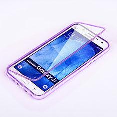 Coque Transparente Integrale Silicone Souple Portefeuille pour Samsung Galaxy J7 SM-J700F J700H Violet