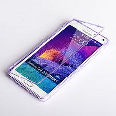 Coque Transparente Integrale Silicone Souple Portefeuille pour Samsung Galaxy Note 4 SM-N910F Violet