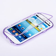 Coque Transparente Integrale Silicone Souple Portefeuille pour Samsung Galaxy S3 III LTE 4G Violet