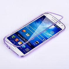 Coque Transparente Integrale Silicone Souple Portefeuille pour Samsung Galaxy S4 IV Advance i9500 Violet