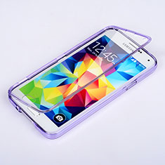 Coque Transparente Integrale Silicone Souple Portefeuille pour Samsung Galaxy S5 G900F G903F Violet