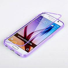 Coque Transparente Integrale Silicone Souple Portefeuille pour Samsung Galaxy S6 Duos SM-G920F G9200 Violet