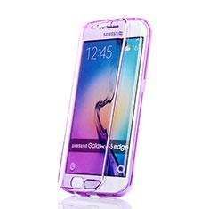 Coque Transparente Integrale Silicone Souple Portefeuille pour Samsung Galaxy S6 Edge SM-G925 Violet