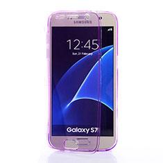 Coque Transparente Integrale Silicone Souple Portefeuille pour Samsung Galaxy S7 G930F G930FD Violet