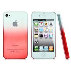 Coque Transparente Rigide Degrade pour Apple iPhone 4 Rouge