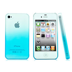 Coque Transparente Rigide Degrade pour Apple iPhone 4S Bleu Ciel