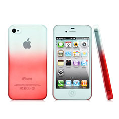 Coque Transparente Rigide Degrade pour Apple iPhone 4S Rouge