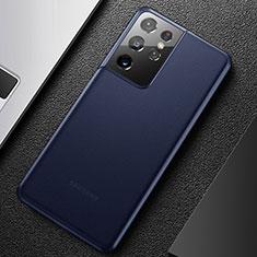 Coque Ultra Fine Plastique Rigide Etui Housse Transparente U01 pour Samsung Galaxy S21 Ultra 5G Bleu