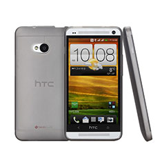 Coque Ultra Fine Plastique Rigide Transparente pour HTC One M7 Gris