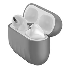 Coque Ultra Fine Silicone Souple 360 Degres Housse Etui S02 pour Apple AirPods Pro Gris