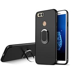 Coque Ultra Fine Silicone Souple avec Support Bague Anneau A01 pour Huawei Honor Play 7X Noir