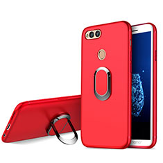 Coque Ultra Fine Silicone Souple avec Support Bague Anneau A01 pour Huawei Honor Play 7X Rouge