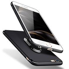 Coque Ultra Fine Silicone Souple avec Support Bague Anneau A02 pour Apple iPhone 5S Noir