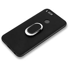 Coque Ultra Fine Silicone Souple avec Support Bague Anneau A02 pour Xiaomi Mi 6 Noir