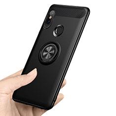 Coque Ultra Fine Silicone Souple avec Support Bague Anneau A02 pour Xiaomi Redmi Note 5 Noir