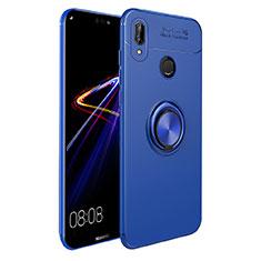 Coque Ultra Fine Silicone Souple avec Support Bague Anneau Aimante A02 pour Huawei P Smart+ Plus Bleu
