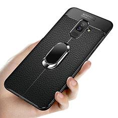 Coque Ultra Fine Silicone Souple avec Support Bague Anneau Aimante A02 pour Samsung Galaxy A6 Plus (2018) Noir