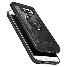 Coque Ultra Fine Silicone Souple avec Support Bague Anneau Aimante A02 pour Samsung Galaxy S7 Edge G935F Noir