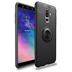 Coque Ultra Fine Silicone Souple avec Support Bague Anneau Aimante A03 pour Samsung Galaxy A6 Plus (2018) Noir