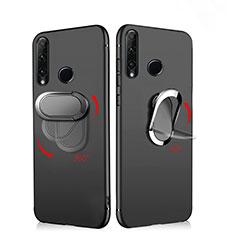 Coque Ultra Fine Silicone Souple avec Support Bague Anneau Aimante Magnetique pour Huawei Enjoy 9s Noir