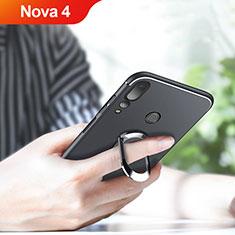 Coque Ultra Fine Silicone Souple avec Support Bague Anneau Aimante Magnetique pour Huawei Nova 4 Noir