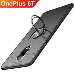 Coque Ultra Fine Silicone Souple avec Support Bague Anneau Aimante Magnetique pour OnePlus 6T Noir