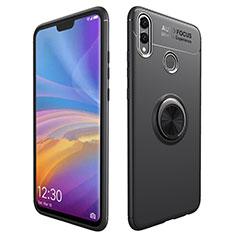 Coque Ultra Fine Silicone Souple avec Support Bague Anneau Aimante pour Huawei Honor 8X Noir