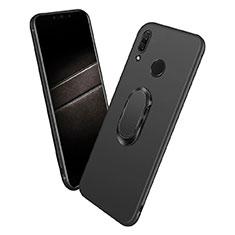 Coque Ultra Fine Silicone Souple avec Support Bague Anneau Aimante pour Huawei P Smart+ Plus Noir