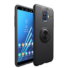 Coque Ultra Fine Silicone Souple avec Support Bague Anneau Aimante pour Samsung Galaxy A6 (2018) Dual SIM Noir