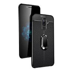 Coque Ultra Fine Silicone Souple avec Support Bague Anneau Aimante pour Samsung Galaxy A9 Star Lite Noir