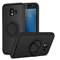 Coque Ultra Fine Silicone Souple avec Support Bague Anneau Aimante pour Samsung Galaxy J2 Pro (2018) J250F Noir