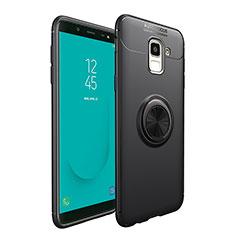 Coque Ultra Fine Silicone Souple avec Support Bague Anneau Aimante pour Samsung Galaxy On6 (2018) J600F J600G Noir