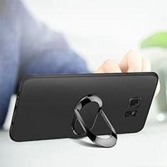 Coque Ultra Fine Silicone Souple avec Support Bague Anneau Aimante pour Samsung Galaxy S7 Edge G935F Noir