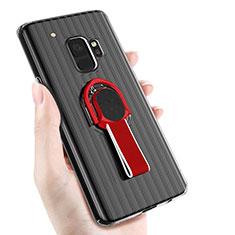 Coque Ultra Fine Silicone Souple avec Support Bague Anneau Aimante pour Samsung Galaxy S9 Noir