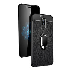 Coque Ultra Fine Silicone Souple avec Support Bague Anneau Aimante Q02 pour Samsung Galaxy A6 Plus Noir