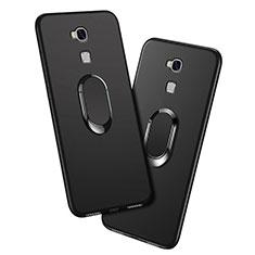 Coque Ultra Fine Silicone Souple avec Support Bague Anneau pour Huawei GR5 Noir